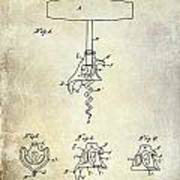 1900 Corkscrew Patent Drawing Poster