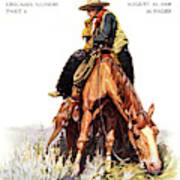 1900s Sunday Magazine Cover Lone Cowboy Poster