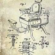1901 Barber Chair Patent Drawing  Poster