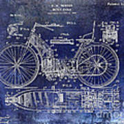 1901 Motorcycle Patent Drawing Blue Poster