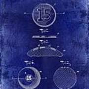 1902 Billiard Ball Patent Drawing Blue Poster