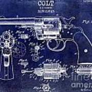 1903 Colt Revolver Patent Drawing Blue Poster