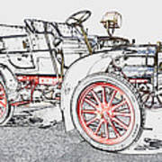 1907 Cadillac Colored Pencil Poster