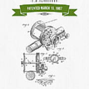 1907 Fishing Reel Patent Drawing - Green Poster