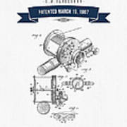 1907 Fishing Reel Patent Drawing - Navy Blue Poster