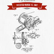 1907 Fishing Reel Patent Drawing - Red Poster