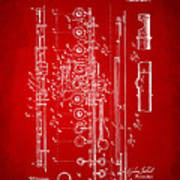 1908 Flute Patent - Red Poster