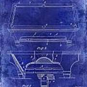 1909 Billiard Table Patent Drawing Blue Poster