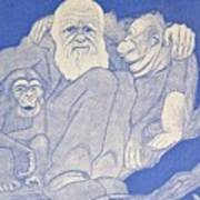 1909 Cartoon Darwin With Apes Detail Poster