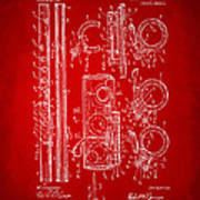1909 Flute Patent In Red Poster