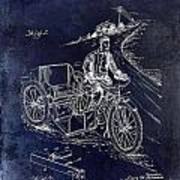 1913 Motorcycle Side Car Patent Blue Poster