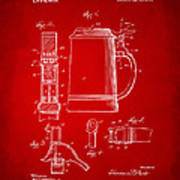 1914 Beer Stein Patent Artwork - Red Poster by Nikki Marie Smith