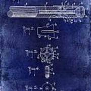 1915 Billiard Cue Patent Drawing Blue Poster