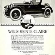 1921 - Wills Sainte Claire Automobile Roadster Advertisement Poster