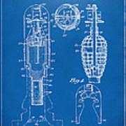 1921 Explosive Missle Patent Minimal Blueprint Poster by Nikki Marie Smith