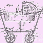 1922 Baby Carriage Patent Art Pink Poster