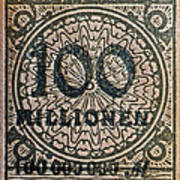 1923 100 Million Mark German Stamp Poster