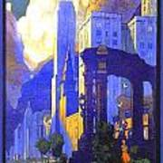 1926 - New York Central Railroad - Chicago Travel Poster - Color Poster