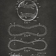 1928 Baseball Patent Artwork - Gray Poster