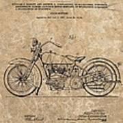 1928 Harley Davidson Motorcyle Patent Illustration Poster