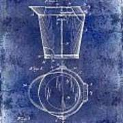 1928 Milk Pail Patent Drawing Blue Poster