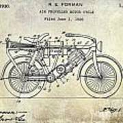 1928 Motorcycle Patent Drawing Poster