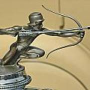 1928 Pierce Arrow Helmeted Archer Hood Ornament Poster