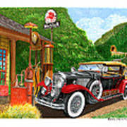 1929 Cadillac Dual Cowl Phaeton And Pegasus Poster