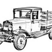 1929 Chevy Truck 1 Ton Stake Body Drawing Poster