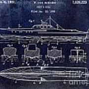 1930 Ship's Hull Patent Drawing Blue Poster