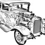 1930 Model A Custom Hot Rod Illustration Poster