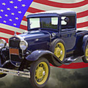 1930 Model A Ford Pickup Truck And American Flag Poster