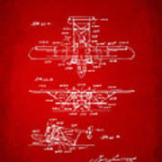 1932 Amphibian Aircraft Patent Red Poster