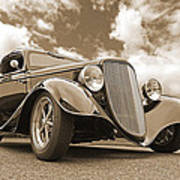 1934 Ford Coupe In Sepia Poster