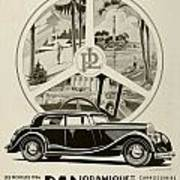 1935 - Panhard Panoramique French Automobile Advertisement Poster