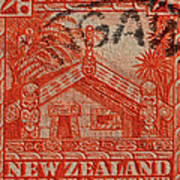 1935 Carved Maori House New Zealand Stamp Poster