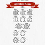1935 India Rubber Ball Patent Drawing - Retro Red Poster