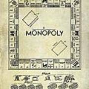 1935 Monopoly Patent Drawing Poster