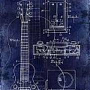 1937 Gibson Electric Guitar Patent Drawing Blue Poster