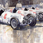1937 Monaco Gp Team Mercedes Benz W125 Poster