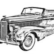 1938 Cadillac Lasalle Illustration Poster