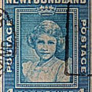 1938 Queen Elizabeth II Newfoundland Stamp Poster