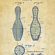 1939 Bowling Pin Patent Artwork - Vintage Poster