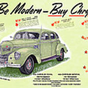 1939 Imperial Vintage Automobile Ad Poster