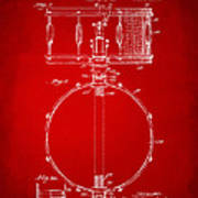 1939 Snare Drum Patent Red Poster