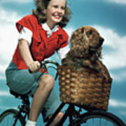 1940s 1950s Smiling Teen Girl Riding Poster