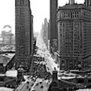1940s Downtown Skyline Michigan Avenue Poster