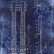 1941 Gibson Electric Guitar Patent Drawing Blue Poster
