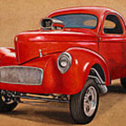 1941 Willys Gasser Coupe Drawing Poster