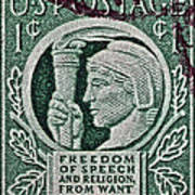 1943 Freedom Of Speech And Religion Stamp Poster